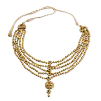 Multi Strand Beaded Ceramic Necklace in Gold Color
