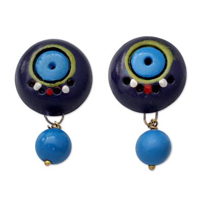 Artisan Hand Painted Blue Terracotta Dangle Earrings