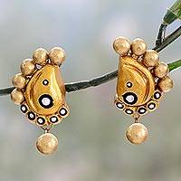 Ceramic dangle earrings, 'Golden Paisley Glamour' - Hand Painted Golden Ceramic Earrings in Paisley Shape