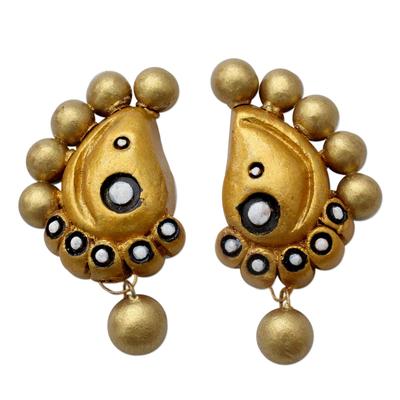 Hand Painted Golden Ceramic Earrings in Paisley Shape