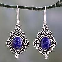 Lapis lazuli dangle earrings, 'Sky Symphony'