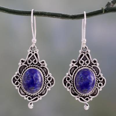 Lapis lazuli dangle earrings, 'Sky Symphony' - Ornate Sterling Silver and Lapis Lazuli Earrings