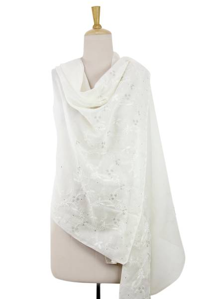 Cotton and silk shawl, 'White Fern Forest' - Fern Motif White on White Cotton Embroidery Shawl