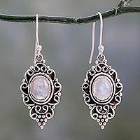 Rainbow moonstone dangle earrings, 'Celestial Dewdrops' - Sterling Silver and Rainbow Moonstone Cabochon Earrings