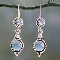 Blue topaz and chalcedony dangle earrings, 'Blue Reverie' - Sterling Silver Earrings with Blue Topaz and Chalcedony
