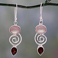 Garnet and rose quartz dangle earrings, 'Romantic Journey'