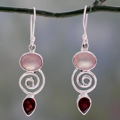 Garnet and rose quartz dangle earrings, 'Romantic Journey' - Silver Dangle Earrings with Rose Quartz and Garnet Stones