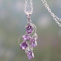 Amethyst pendant necklace, 'Lilac Glamour' - Rhodium Plated Silver Pendant Necklace with Amethyst