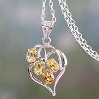 Citrine pendant necklace, 'Golden Heart' - Heart Shaped Silver Pendant Necklace with Citrines