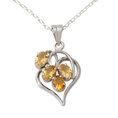 Heart Shaped Silver Pendant Necklace with Citrines
