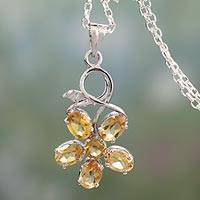 Citrine flower pendant necklace, 'Sunny Blossom' - Necklace with Citrine Flower Motif in Sterling Silver