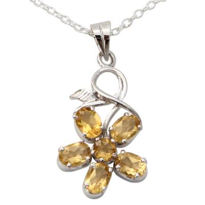 Necklace with Citrine Flower Motif in Sterling Silver