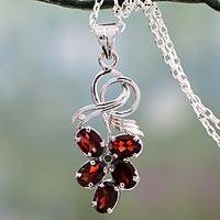 Garnet pendant necklace, 'Floral Fancy' - Floral Themed Garnet Pendant Necklace in Sterling Silver