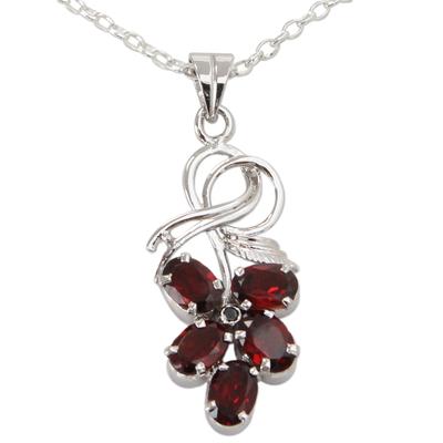 Garnet pendant necklace, 'Floral Fancy' - Floral Themed Garnet Pendant Necklace in Sterling Silver