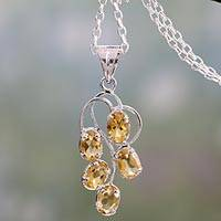 Citrine pendant necklace, 'Sunshine Harmony' - Rhodium Plated 925 Silver and Citrine Pendant Necklace