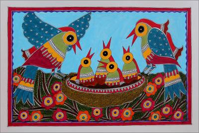 Madhubani painting, 'Happy Family' - Traditional Indian Madhubani Style Painting of Bird Family