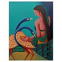 'Parineeta' - Signed Acrylic Painting of Woman with Peacocks