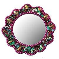 Beaded mirror, 'Festivity in Fuchsia' - Small Round Hand Mirror Embellished with Beads and Sequins