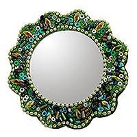 Embellished hand mirror, 'Floral Green' (2 inch) - Floral 2-Inch Hand Mirror Artisan Crafted in India