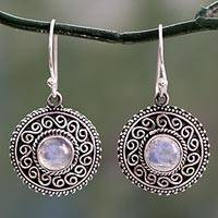 Rainbow moonstone dangle earrings, 'Moonlight Mandala' - Rainbow Moonstone Earrings with Oxidized Silver Accents
