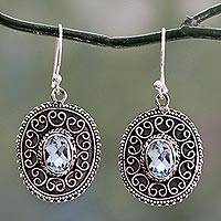 Blue topaz dangle earrings, 'Ornate Shield' - Sterling Silver Dangle Earrings with Oval Blue Topaz Gems