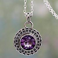 Amethyst pendant necklace, 'Maharashtra Princess' - Ornate Sterling Silver Pendant Necklace Set with Six Carat F