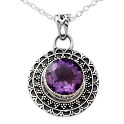 Amethyst pendant necklace, 'Maharashtra Princess' - Ornate Sterling Silver and Amethyst Pendant Necklace