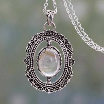 Rutile quartz pendant necklace. 'Venus Hair' - Sterling Silver Pendant Necklace with Rutile Quartz Cabochon