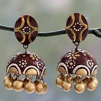 Ceramic dangle earrings, 'Chocolate Kiss' - Artisan Crafted Brown and Gold Ceramic Dangle Earrings