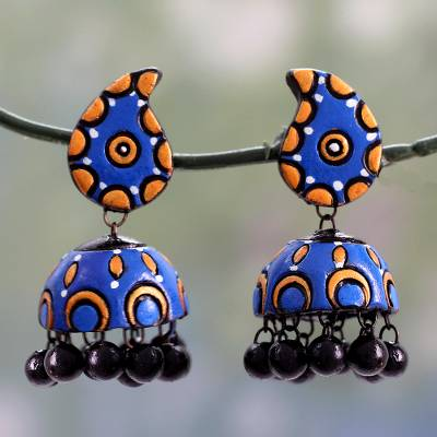 Ceramic dangle earrings, 'Blue Paisley' - Handmade Ceramic Dangle Earrings in Blue and Orange