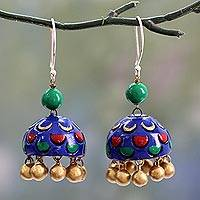 Ceramic dangle earrings, 'Royal Blue Regalia' - Royal Blue Ceramic Dangle Earrings on Sterling Hooks