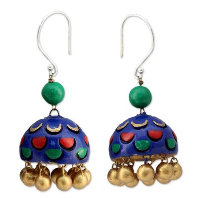 Royal Blue Ceramic Dangle Earrings on Sterling Hooks