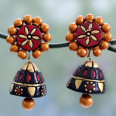Ceramic dangle earrings, 'Palace Nights' - Colorful Ceramic Dangle Style Earrings with Silver Posts