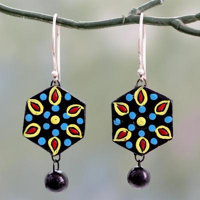 Ceramic dangle earrings, 'Mughal Midnight' - Handmade Black and Multicolor Ceramic Dangle Earrings