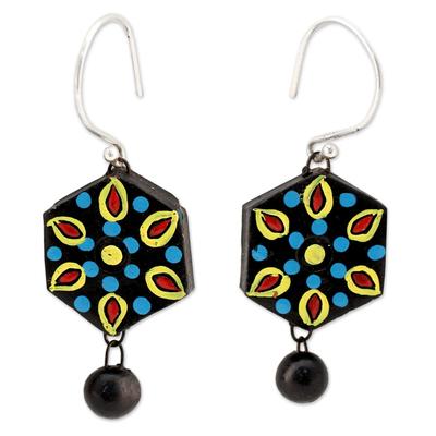 Handmade Black and Multicolor Ceramic Dangle Earrings