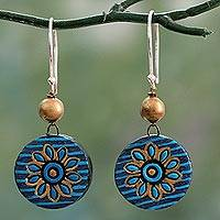 Ceramic dangle earrings, 'Mughal Morning' - Hand Crafted Ceramic Dangle Earrings in Blue and Gold
