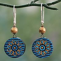 Ceramic dangle earrings, 'Mughal Morning' - Hand Crafted Ceramic Dangle Earrings in Blue and Gold