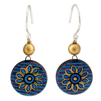 Hand Crafted Ceramic Dangle Earrings in Blue and Gold