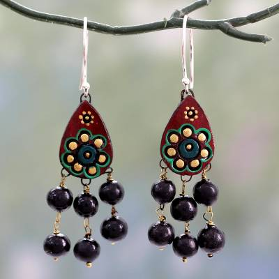 Ceramic chandelier earrings, 'Bollywood Dream' - Fair Trade Ceramic Earrings on Sterling Silver Hooks