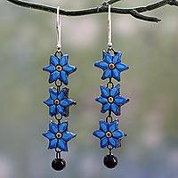 Ceramic dangle earrings, 'Daffodils' - Long Floral Dangle Earrings Handmade from Ceramic