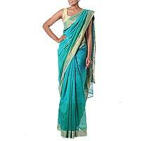 Cotton and silk blend sari, 'Teal Fantasy' - Hand Loomed Teal and Gold Sari in Cotton and Silk Blend