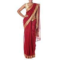 Cotton and silk blend sari, 'Passionate Red'