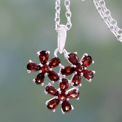 Garnet pendant necklace, 'Bouquet of Passion' - Garnet Flower Pendant Necklace in Rhodium Plated Silver