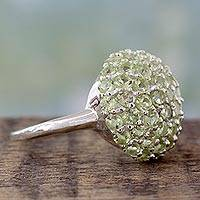 Peridot cluster ring, 'Viburnum' - Cocktail Ring with Cluster Set Peridot and Sterling Silver