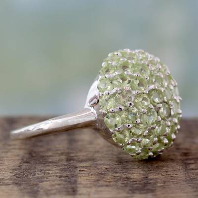 silver ring stamps - Cocktail Ring with Cluster Set Peridot and Sterling Silver