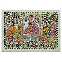 Madhubani painting, 'Mithila Bride' - Hand Painted Madhubani Art of Mithila Bride from India