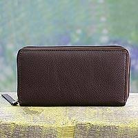 Leather wallet, 'On the Go in Brown' - Hand Crafted Accordion Style Leather Wallet in Brown