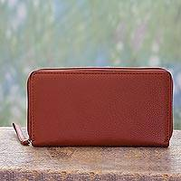 Leather wallet, 'On the Go in Tan' - Multi Pocket Accordion Wallet Crafted from Tan Leather