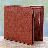Men's leather wallet, 'Dapper in Tan' - Men's Sienna Tan Leather Wallet with Multiple Pockets