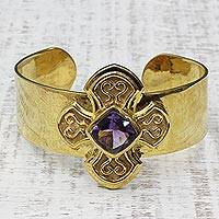 Gold plated amethyst cuff bracelet, 'Blissful Glow' - Gold Plated Sterling Silver Cross Cuff Bracelet from India